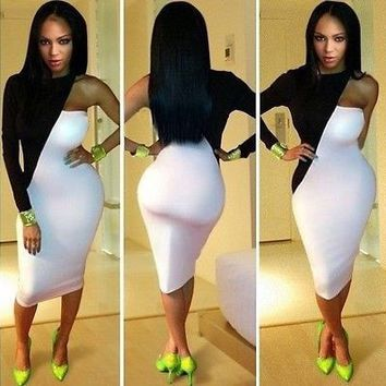 One Shoulder Sexy Clubwear Bodycon Dress