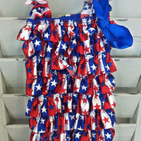 CPR070 Red/White/Blue Star And Stripes Baby Romper