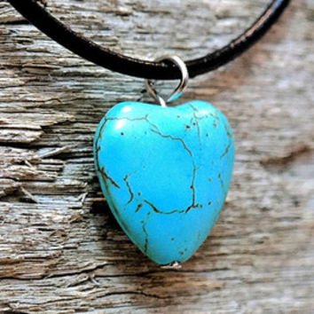Turquoise Heart Bead Boho Hippie Gypsy Necklace