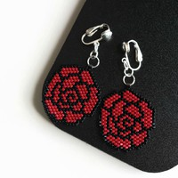 Red Black Rose Hand Beaded Artisan Clip-on Earrings