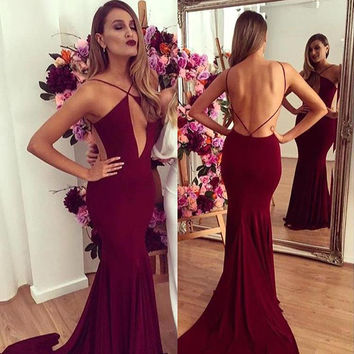 Sexy Backless Burgundy Prom Dress 2017 Popular Long Mermaid Prom Evening Gown Jersey Robe De Soiree