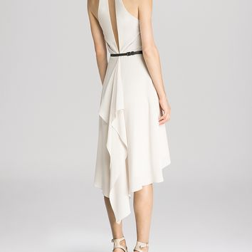 HALSTON HERITAGE Dress - Sleeveless Flutter Back Buckle Detail