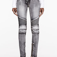 BLACK FADED & RIBBED JEANS
