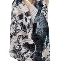Elegant Skull Design on Pink Scarf Occult Clothing