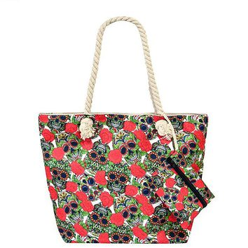 Colorful Sugar Skull Multi Print Fashion Shoulder Tote Bag Purse