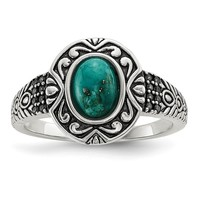 925 Sterling Silver Rhodium-plated & Oxidized with Recon Turquoise Ring