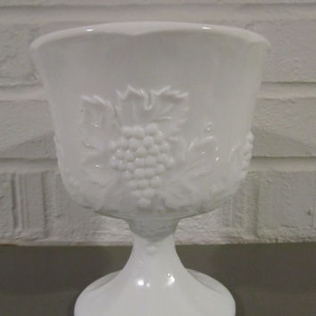 Vintage Milk Glass Compote with Raised Grape and Vine Detail