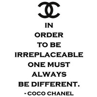 Irreplaceable Be Different CoCo Chanel vinyl wall by SpiffyDecals