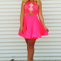 My Perfect Valentine Dress: Neon Pink/Nude