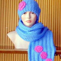 Knit Fringed Scarf Hat Set Women Hats Flower Beanie with Scarf Fashion Accessories Gift Ideas Made to Order