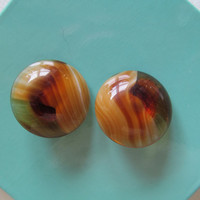 Germany agate earrings, clip on earrings, collectible jewelry