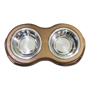 Pet Double Diner Bowl Stainless Steel Snap In By Boomer N Chaser