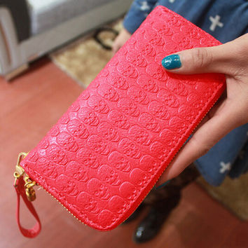 womens wallets and purses skull bag New fashion designer Long style leather purse wallet phone zip coin credit card holders