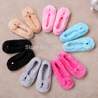 free shipping 2016 Hot Selling Lovely Big BowKnot Warm Soft Sole Women Indoor Floor Slippers Shoes Bow Tie Flannel Home Slippers