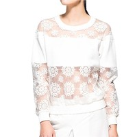 Hollowed Floral Embroidery Long-Sleeved Sheer Organza Top T Shirt