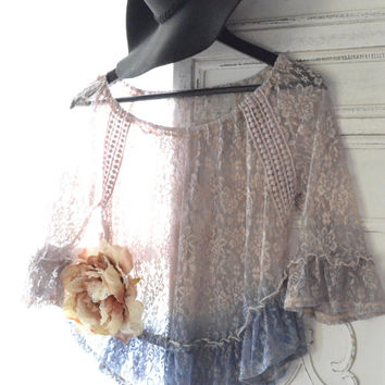 Sale Romantic lace top, Gypsy spell boho chic clothing, Bohemian gypsy lace shirt, Urban street chic pink top, Shabby, True rebel clothing