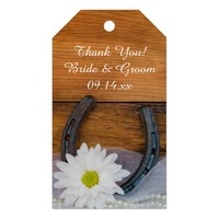 White Daisy Horseshoe Country Wedding Favor Tags