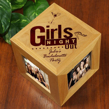 Engraved Girls Night Out Wooden Photo Cube- 422644