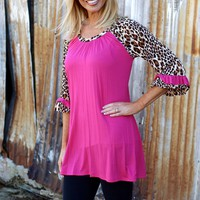 On the Wild Side Leopard Raglan Tunic ~ Fuchsia