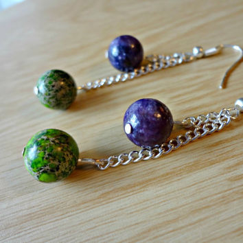 Green Jasper and Purple Amethyst Astronomer by EudaimoniaJewelry