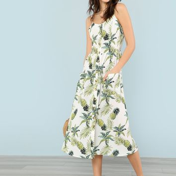 Allover Pineapple Print Button Up Cami Dress