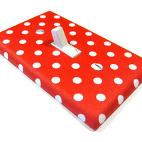 Red and White Polka Dot Light Switch Cover Nursery Decor Matches Disney Minnie Mouse Bedroom 918