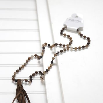 Beaded Leather Tassel Necklace, Brown Multi