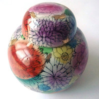 Colorful Hand Painted China Porcelain Pot - Vase - Vintage