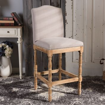 Baxton Studio Paige French Vintage Cottage Weathered Oak Finish Wood and Beige Fabric Upholstered Bar Stool Set of 1