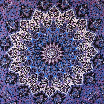 Popular Handicrafts Hippie Mandala Tapestry, Blue Purple Tapestry Wall Hanging, Indian Tapestry, Large Table Runner Bed Cover Indian Art, Cotton Bohemian Tapestry, Hippie Tapestry, Cotton Bed Sheet, Decor Art Wall Hanging