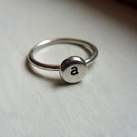 Sterling Silver Initial Ring - Pebble Signet Ring