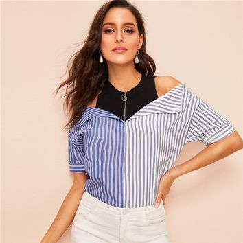 Cold Shoulder Zip Half Placket Striped Top Spliced Blouse Women Colorblock High Street Casual Blouses