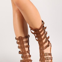 Wild Diva Jade-01a Strappy Open Toe Gladiator Flat Sandal