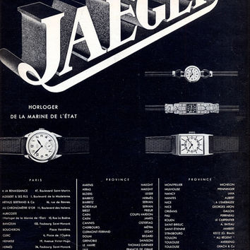 JAEGER vintage ad, retro poster Jaeger watches original poster 1935, Claverie lingerie poster on the reverse side