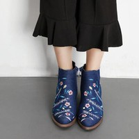 Embroidered Denim Ankle Boots for Women
