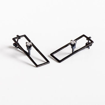 SALE Oxidized Silver Ear Jacket Earrings, Floater Studs Oxidized Sterling Silver & CZ, Black Statement Earrings