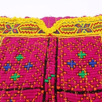 Banjara neck yoke with hand embroidery/Handmade Applique Patch/ Sewing craft/Vintage Handmade Banjara Neck Yoke with mirror work embroidery