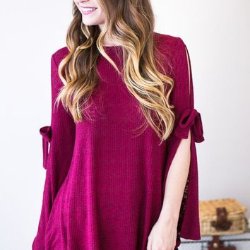 Tied Together Brushed Knit Top