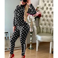LV Louis Vuitton Fashion Women High Collar zipper Long Sleeve Top Pants Trousers Set Two-Piece