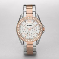 FOSSIL Watch Collections Riley:Womens Riley Stainless Steel Watch, Two-Tone