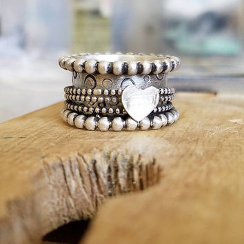 Heart Ring, Fidget Spinner Ring, Meditation Ring, Heart Promise Ring, Sterling Fidget Ring, Silver Worry Ring, Spinning Heart Ring, Bubbles