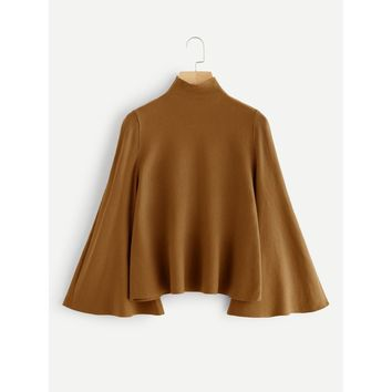 Mock Neck Bell Sleeve Jersey Sweater CAMEL