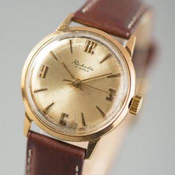Gold plated men's wrist watch Raketa shiny gold face watch round retro watch chocolate shade leather strap