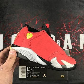 DCCKIJ2 Kids Air Jordan 14 Retro High Basketball Shoes Red