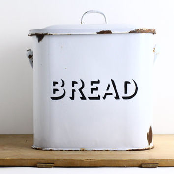 Vintage Enamel Bread Box - Farmhouse Kitchen Storage Canister