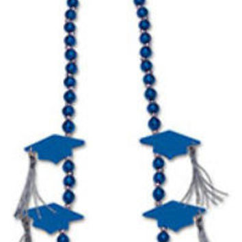 grad cap with tassel beads (blue) Case of 12