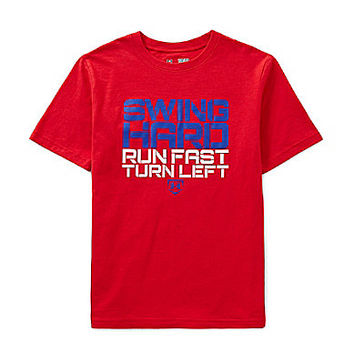 Under Armour 8-20 Swing Hard Run Fast Turn Left Short-Sleeve Tee - Red