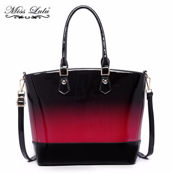 Miss Lulu Brand Women Handbag Designer Patent Leather Top-handle Bag High Quality Shoulder Bag Tote Cross Body Satchel YD1722