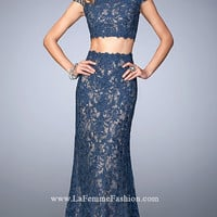 Two Piece Off The Shoulder Lace Long Gigi Prom Dress