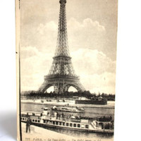 B&W Eiffel Tower Vintage Postcard Paris France, early 1900s Parisian Postcard Ephemera 1 Vintage Postcard, European Ephemera, Home Decor